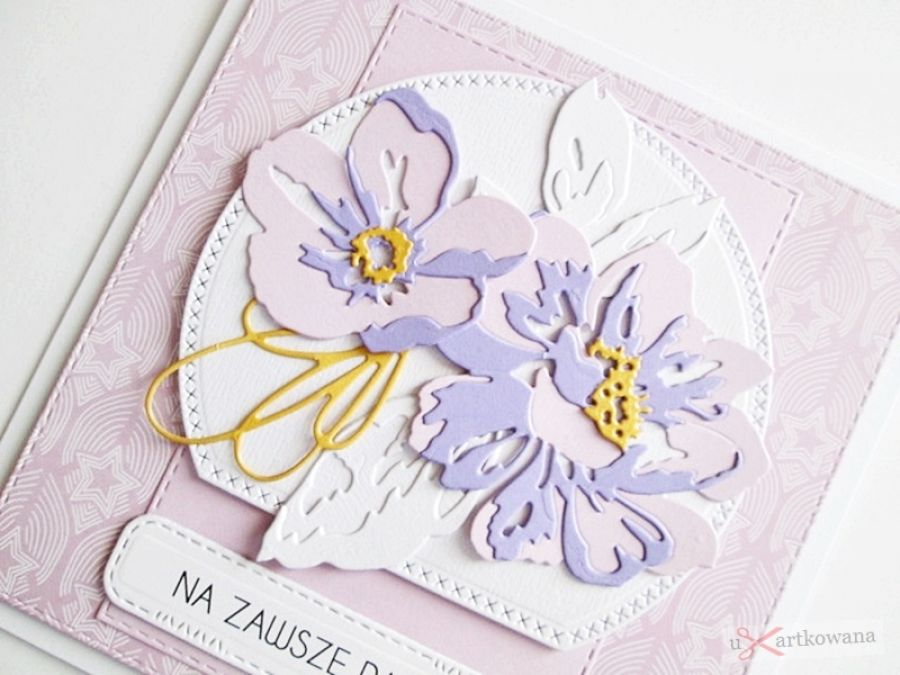Kartka NA ŚLUB fioletowo-różowa - Kartka ślubna z fioletowo-różowymi kwiatami