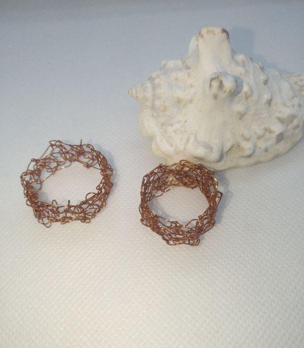 Obrączki miedziane wire crochet - Szydełkowe obrączki z miedzi