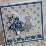 Kartka 3D na chrzest Winter Star Blue2 GOTOWA -