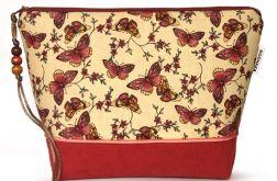 kosmetyczka - motyle - wiśniowa czerwień L