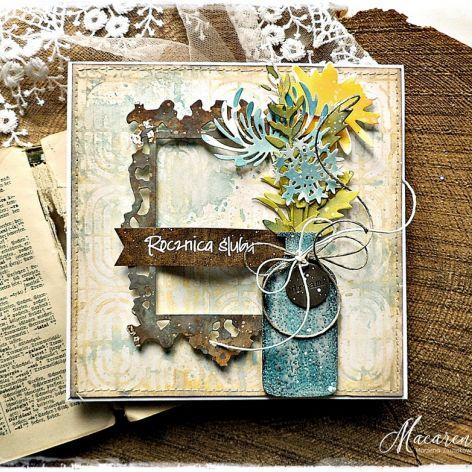 Rocznica Ślubu - kartka ręcznie malowana