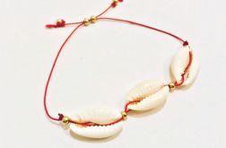 Bransoletka sznurek i Muszelki Kauri - model3