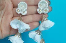 Kolczyki ślubne sutasz, biała biżuteria na wesele