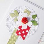 Kartka URODZINOWA czerwono-zielona - Kartka urodzinowa z różyczką