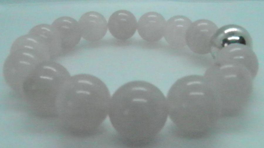 Bransoletka z dużych kul różowego kwarcu  - Bransoletka z wysokiej jakości różowego kwarcu