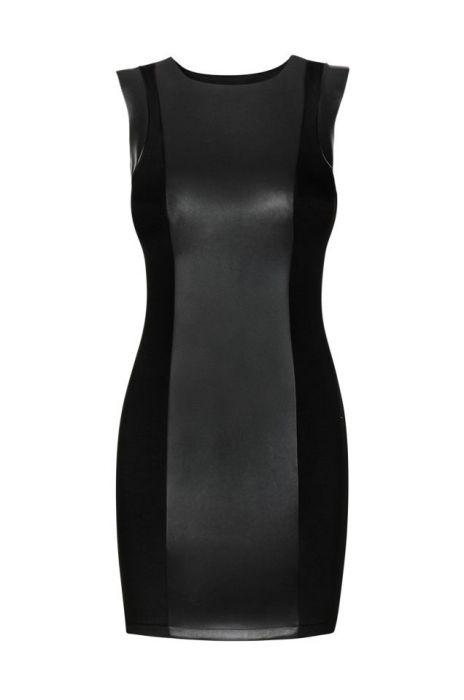 Seksowna sukienka z panelem z eko-skóry 175