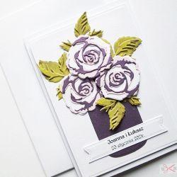 Kartka Ślubna - wazon z różami
