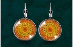Kolczyki - Pomarańczowa mandala - powiew orientu