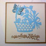 Kartka wielkanocna - niebieski koszyczek nr 1 - z kopertą