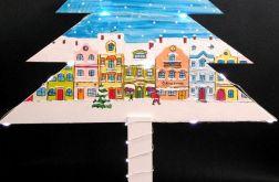 Malowana choinka z Zimowe Miasteczko LED