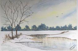 Obraz na ścianę akwarela drugi śnieg zima art