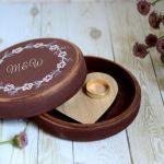 Okrągłe pudełko na obrączki BOHO -