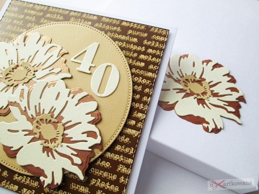 Kartka URODZINOWA - miedziano-kremowe kwiaty - Kartka na urodziny z warstwowymi kwiatami