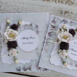 Kwiatowa kartka ślubna z pudełkiem Az4