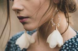 Śmietankowe ecru ivory kolczyki kwiaty ślubne