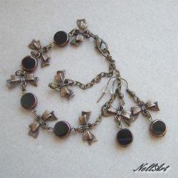 komplet biżuterii vintage czarny