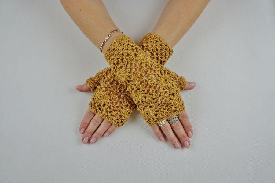 Mitenki  szydełkowe w kolorze złotej jesieni - Rękawiczki ażurowe