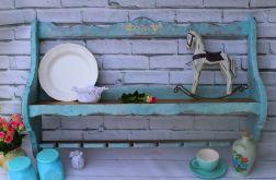Półka na talerze turkusowy kolor, shabby chi