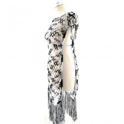 różne kolory - ażurowa tuniko-sukienka z frędzlami