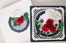 Kartka MŁODEJ PARZE z czerwonym różami