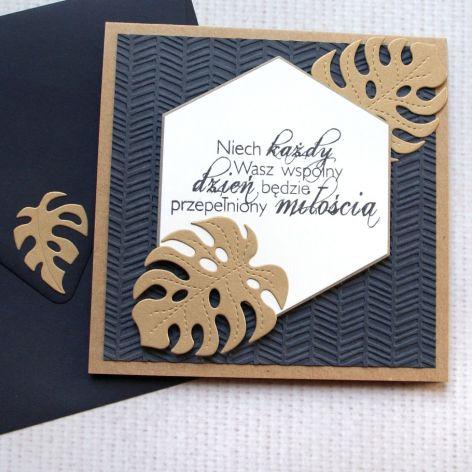 kartka ślubna - monstera - granat i złoto