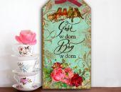 Tabliczka Zawieszka Napisy Cytaty Bóg w Dom