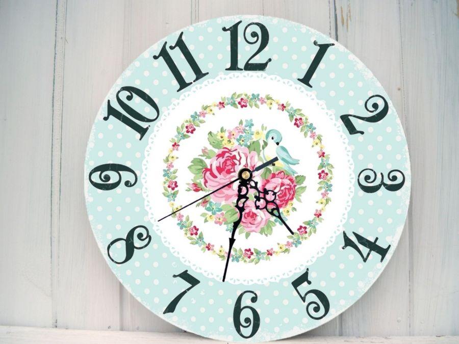 Zegar Ścienny Retro Kropki Róże