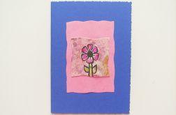 Kartka granatowa z kwiatkiem nr 6