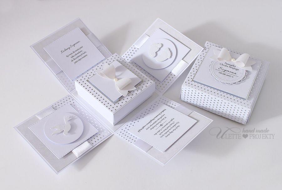 Exploding box chrzest święty biało srebny