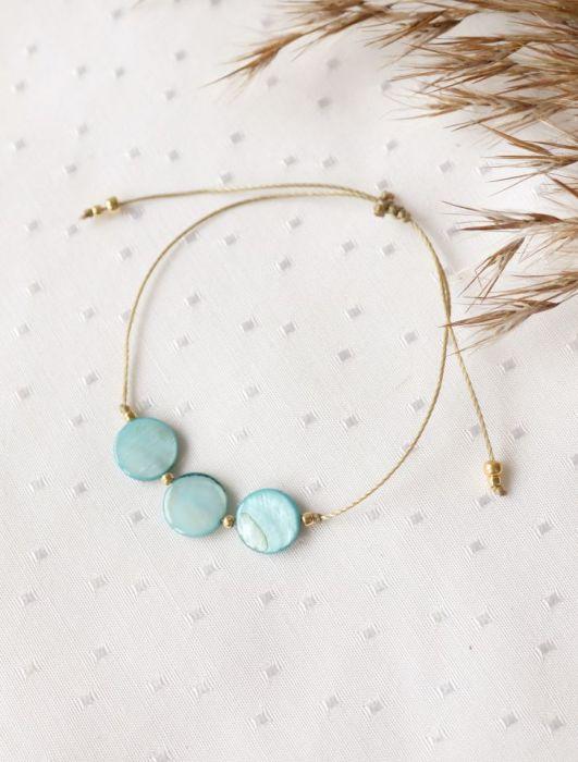 Komplet naszyjnik i bransoletka z turkusową masą perłową - Bransoletka regulowana na rękę sznurkowa