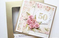 Kartka ROCZNICA ŚLUBU pastelowe róże