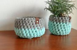 Koszyk ze sznurka bawełnianego mięta-szary S