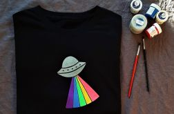 Koszulka ręcznie malowana ufo unisex one size