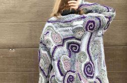 Szary cardigan freeform crochet
