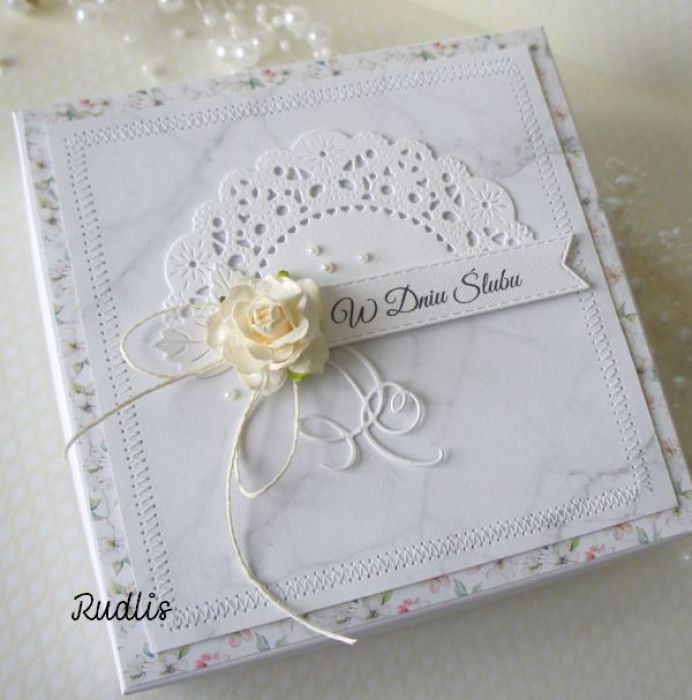 Kartka ślubna w pudełku - szyty komplet v.4 - szyta1bbb
