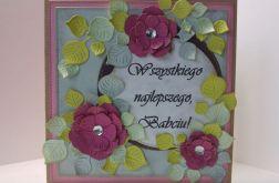 Kartka dla babci - różowe kwiatki (3)