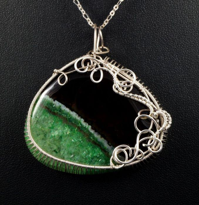 Srebrny wisior z agatem zielono czarnym - Agat czarno zielony, srebrny wisior z agatem, ręcznie wykonany, prezent dla niej, prezent dla mamy, prezent urodzinowy, biżuteria autorska