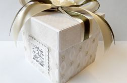 Pudełko, kartka ślubna beżowa