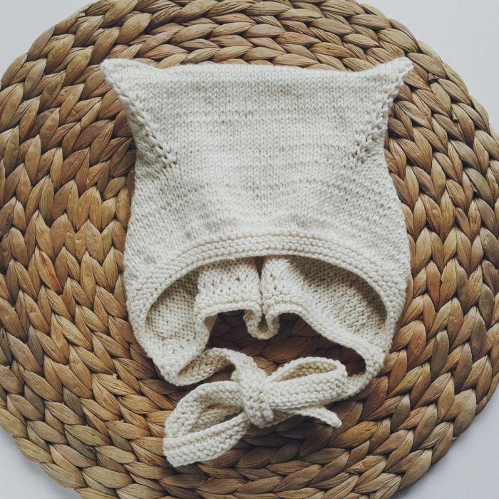 Czapka bonetka kitty bawełna/merino ecru