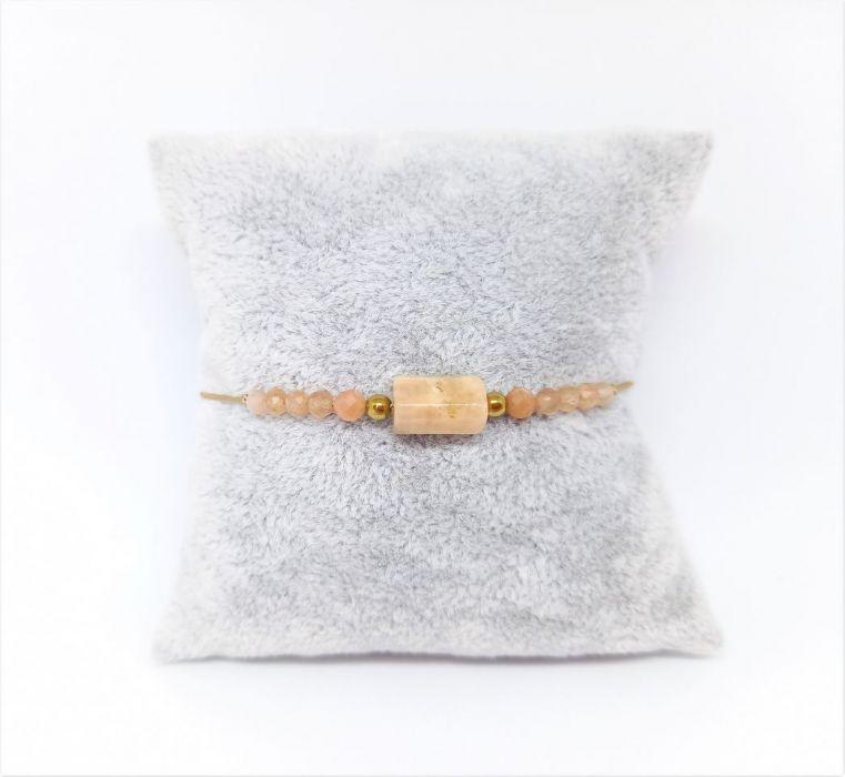 Kamień słoneczny i różowy opal bransoletka - Bransoletka na prezent na sznurku