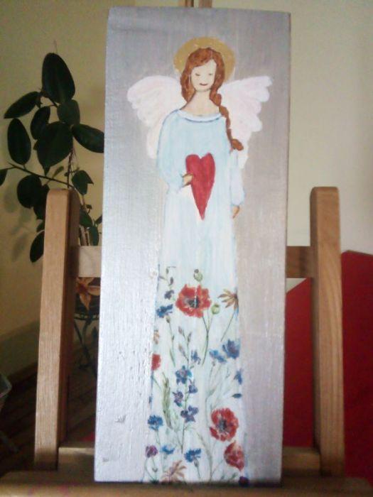 Anioł łąkowy - malowany na desce