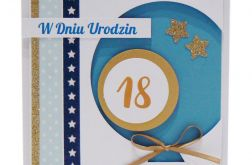Niebieski balon kartka 18 urodziny