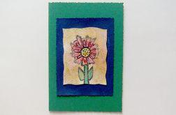 Kartka ciemnozielona z kwiatkiem 7