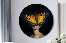 Kobieta Motyl - Obraz na okrągłej ramie
