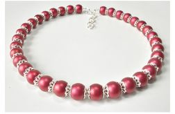 4034 bordowy naszyjnik szklane perły