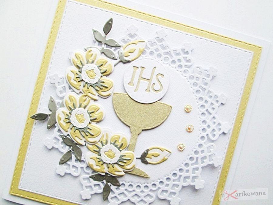 Kartka PAMIĄTKA I KOMUNII z kielichem #11 - Kartka na Komunię z żółto-szarymi kwiatami