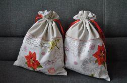 Worek na prezent - kwiaty poinsecji