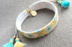 Golden Beach bransoletka haftowana + chwosty