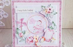 Kartka na Chrzest 3D Baby Joy różowa GOTOWA