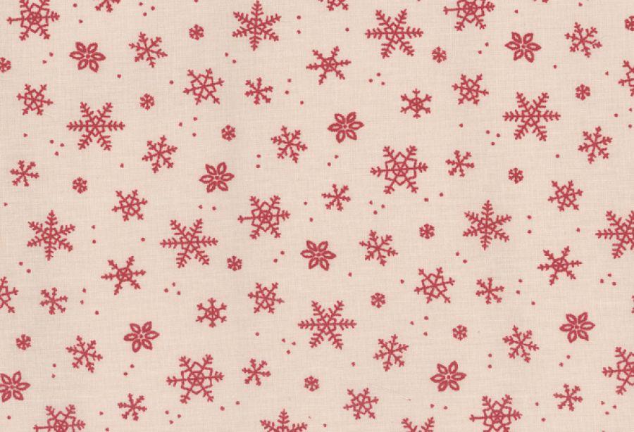 Obrus beżowy w czerwone gwiazdki 140x140 cm